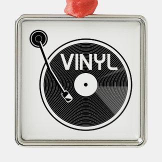 Rétro plaque tournante de disque vinyle ornement carré argenté