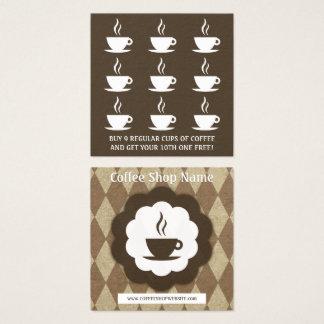 rétro poinçon de fidélité de diamant de café carte de visite carré