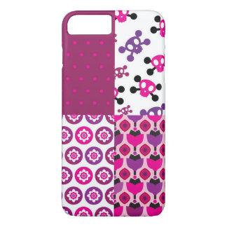 Rétro point de polka de crâne de fleur coque iPhone 7 plus