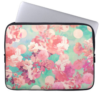 Rétro pois floral rose romantique de Teal de motif Trousse Pour Ordinateur Portable