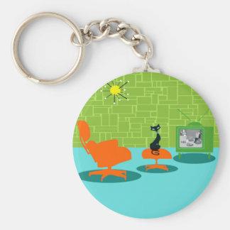 Rétro porte - clé de bouton de Kitty d'âge Porte-clé Rond