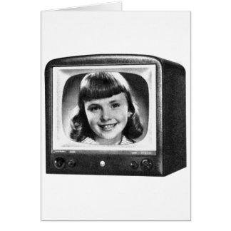 Rétro poste TV de les années 50 BW de kitsch Carte De Vœux