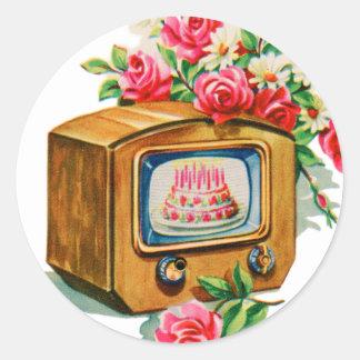 Rétro poste TV vintage de gâteau d'anniversaire de Autocollant Rond