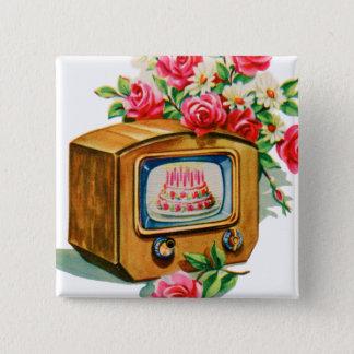 Rétro poste TV vintage de gâteau d'anniversaire de Badge