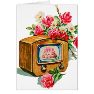 Rétro poste TV vintage de gâteau d'anniversaire de Carte De Vœux