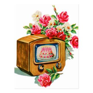 Rétro poste TV vintage de gâteau d'anniversaire de Cartes Postales