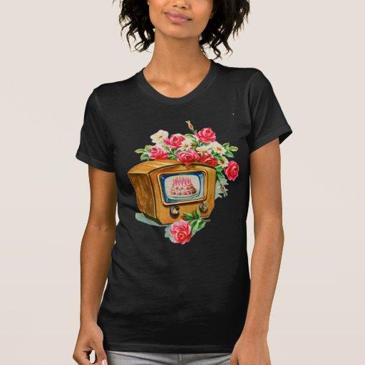 Rétro poste TV vintage de gâteau d'anniversaire de T-shirt