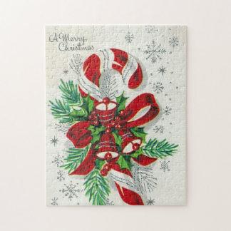 Rétro puzzle de sucre de canne de Noël vintage