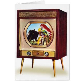 Rétro récepteur de télévision en couleurs vintage  carte de vœux