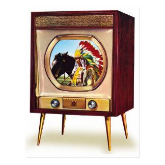 Rétro récepteur de télévision en couleurs vintage carte postale