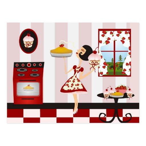 Rétro recette de cuisine familiale carte postale