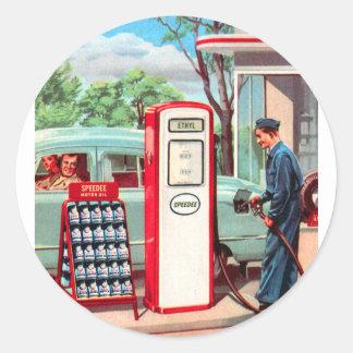 Rétro remplisseur vintage de station d'essence de sticker rond