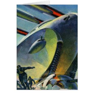 Rétro réservoir superbe vintage de Sci fi WWI de Carte De Vœux