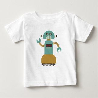 Rétro robot drôle de rouleau t-shirt pour bébé