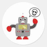Rétro robot rouge de griffe adhésifs ronds