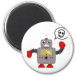 Rétro robot rouge de griffe aimants