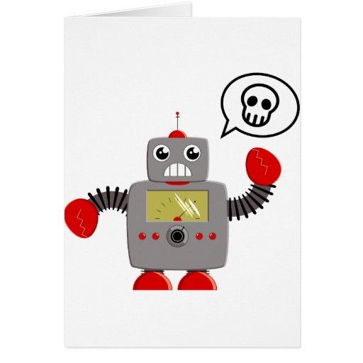 Rétro robot rouge de griffe carte de vœux