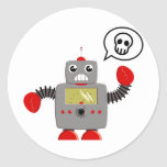 Rétro robot rouge de griffe sticker rond