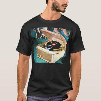 Rétro roche vintage de kitsch et plaque tournante t-shirt