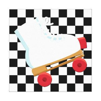 Rétro Rollerskate vérifié noir et blanc Toiles