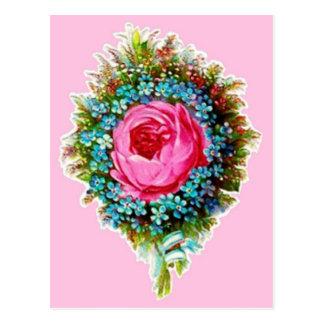 Rétro rose rose vintage de bouquet floral cartes postales