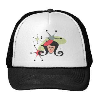 Rétro rouge de fille avec des étoiles casquettes