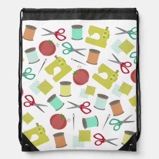 Rétro sac à dos de couture de cordon de motif de t