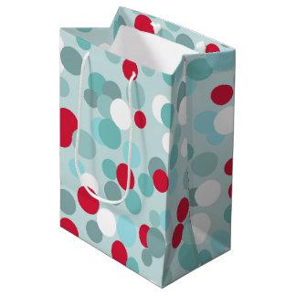 Rétro sac de cadeau de pois de vacances de Noël Sac Cadeau Medium
