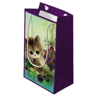 Rétro sac vintage de chat de vacances de Noël