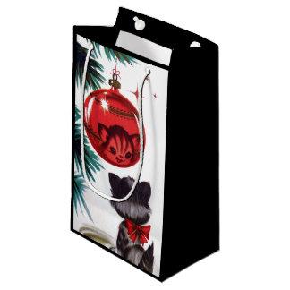 Rétro sac vintage de partie de chat de Noël