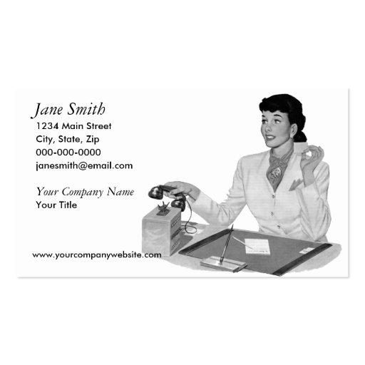 Rétro secrétaire modèle de carte de visite