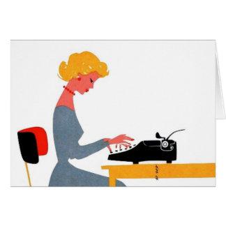 Rétro secrétaire, jour professionnel administratif carte de vœux