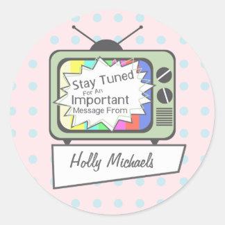 Rétro séjour accordé….Poste TV vert Sticker Rond