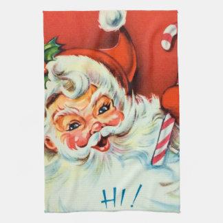 Rétro serviette de cuisine vintage de Père Noël de