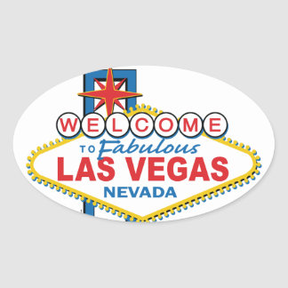 Rétro signe de Las Vegas Sticker Ovale