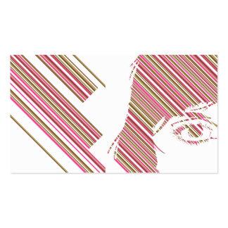 Rétro signet de visage de filles de rayure carte de visite standard