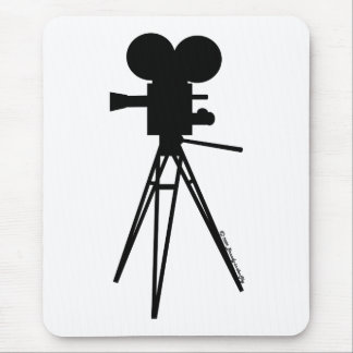 Rétro silhouette d'appareil-photo de film tapis de souris
