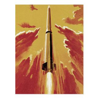 Rétro soufflez Rocket Carte Postale