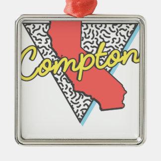 Rétro souvenir de Compton la Californie Ornement Carré Argenté