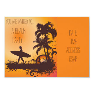 Rétro surfer de plage de coucher du soleil de carton d'invitation  12,7 cm x 17,78 cm