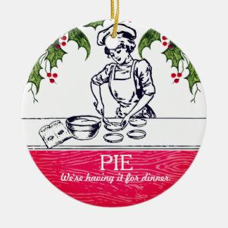 Rétro tarte de boulanger pour l'ornement de Noël Ornement Rond En Céramique