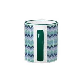 Rétro tasse géométrique bleue de sonnerie de motif