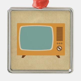 Rétro téléviseur ornement carré argenté