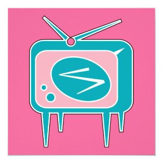 Rétro téléviseur vintage de TV Carton D'invitation 13,33 Cm