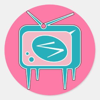Rétro téléviseur vintage de TV Sticker Rond