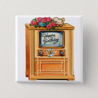 Rétro téléviseur vintage du joyeux anniversaire TV Badges