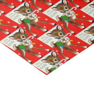 Rétro tissu vintage de Noël de renne de professeur Papier Mousseline