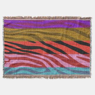 Rétro toile de jute de motif d'impression de peau couvre pied de lit