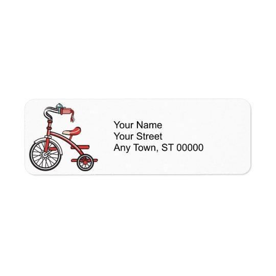 rétro tricycle étiquette d'adresse retour