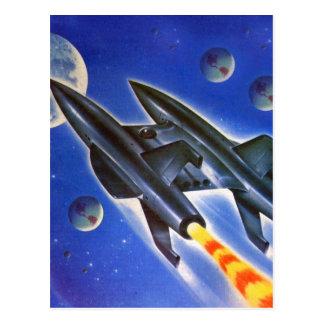 Rétro trois terres de Sci fi vaisseau spatial Carte Postale